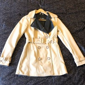 GUESS Faux Leather Double Breasted Trench Coat